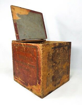 Late 19Th-Early 20Th C Chinese Antique Wooden Hinged Tea Box W/papered Sidewalls