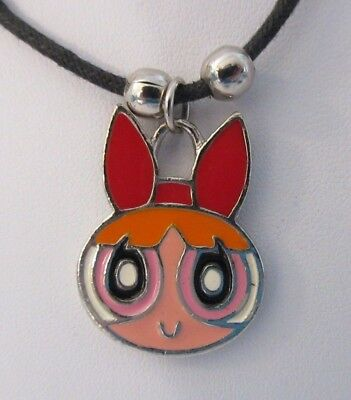 "Powerpuff Girls BLOSSOM Necklace Choker 16.5"" 2000 Rinco Cartoon Network Rinco"