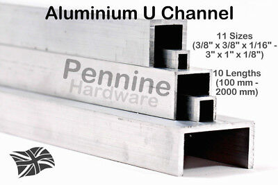 ALUMINIUM U CHANNEL 11 Sizes & 10 Lengths from UK Trade Metal Supplier Saw Cut