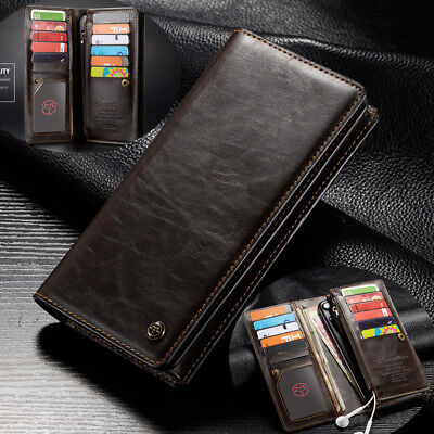 Universal Flip Wallet high-capacity Card Slot Zipper phone Case Cover For iPhone