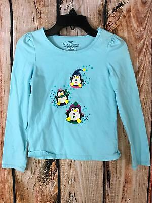 Faded Glory Girls Snow Penguin Christmas Top Size 8 Blue Long Sleeve T-Shirt