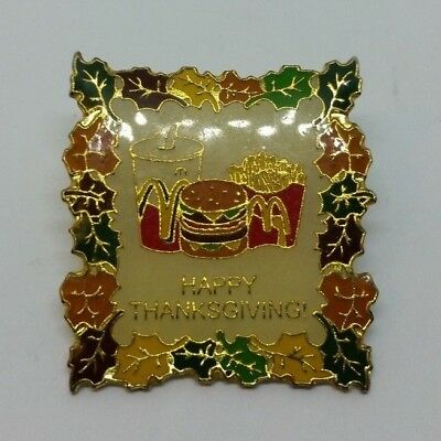 McDonald's Happy Thanksgiving Fall Leaves Enamel Lapel Pin