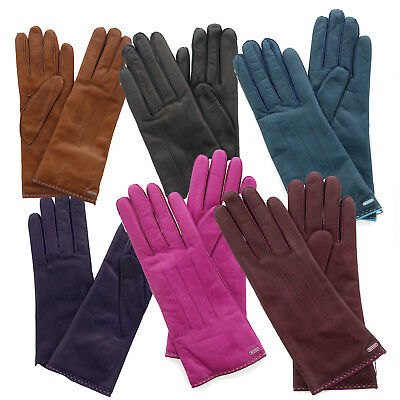 Coach 83875 Women's Basic Colored Leather Gloves Lined Classic Wrist Length Trim