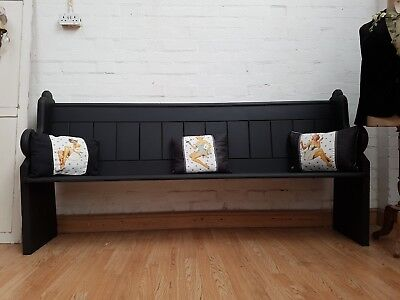Charming Large Antique Welsh Chapel Painted Pine Church Pew