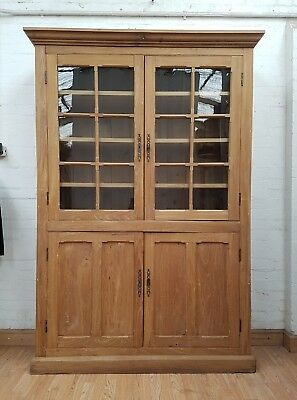 Charming Antique French Stripped Teak? Bookcase - C1900