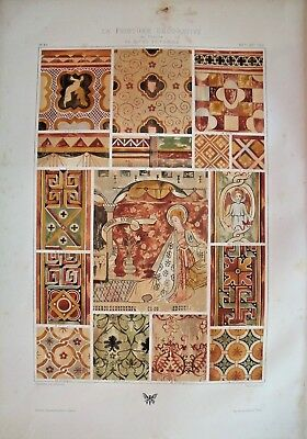 Decorative painting, France 14th-15th Century....Antique chromolithograph ..1875