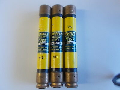 Bussmann Lps-Rk-25Sp Low Peak Dual-Element Time Delay Fuses Lot Of 3