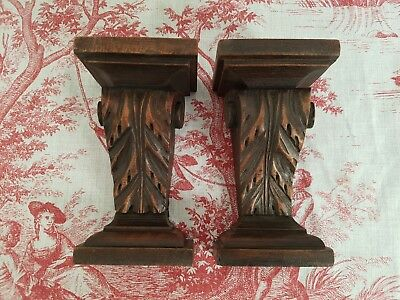 "Pair Of 5"" Antique French Carved Walnut Corbels / Pillars / Brackets  C1900"