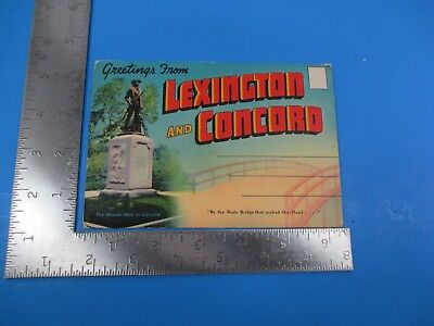Vintage Lexington and Concord MA Souvenir Folder Post Card Book S7596