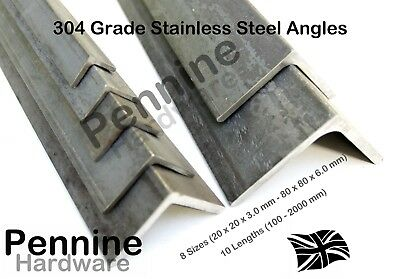 304 GRADE STAINLESS STEEL ANGLES 8 Sizes 10 Lengths Available