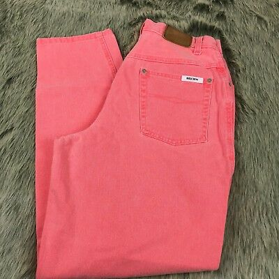 Vtg 80s Bugle Boy Womens Coral Pink High Waist Mom Jeans Neon 16 100% Cotton