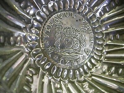 Spanish Solid  Silver Ashtray With  Coin 8 Reales Pillar Phillip V 1737 Mexico.