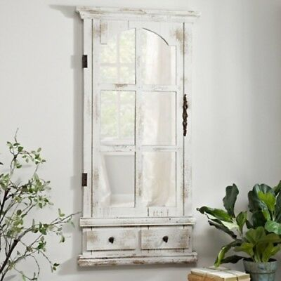 """Simple Rustic Country Style Wood Cabinet Mirror With Wall Mount  L 46.5"""" H"""