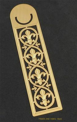 Bookmark FLEUR DE LIS Fleur de Lys metal Sea Gems gold plate Gift 125mm 5inch