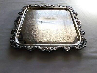 "Poole EPCA Silverplate Large 14"" Square Footed Old English Tray 813"