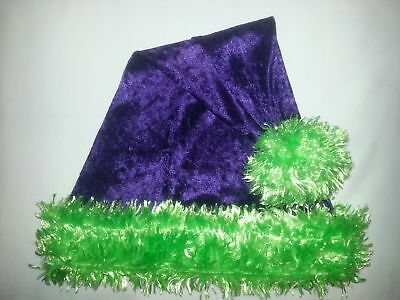 """24/"""" LIME GREEN Santa Hat with HOT PINK faux fur trim /& ball Goth RAVE"""