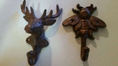 Pair of Vintage Cast Iron Moose and Scorpion Coat Hooks