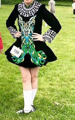 Irish Dance Solo Dress Black velvet.  Prize winner level 15+ age group.