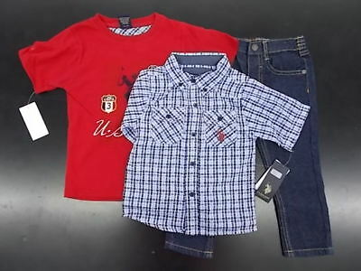 Toddler Boys U.S. Polo Assn. $48 3pc Multi-Blue & Red Set Size 2T - 4T