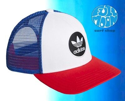 056e71610a NEW ADIDAS ORIGINALS Circle Red White Blue Mens Snapback Trucker Cap Hat