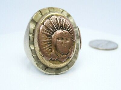 Vintage Mens Mixed Metal Mexican Mexico Biker Ring Feather Indian Chief / SZ. 12