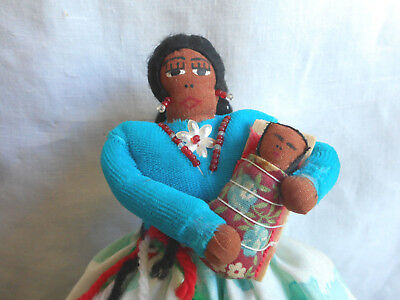 Cloth Indian Made Doll Papoose Signed B. Diaso NM Native American Exc Condition