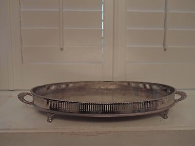Huge Vintage Sheffield Silverplate Handled Footed Gallery Tray Serving Platter S