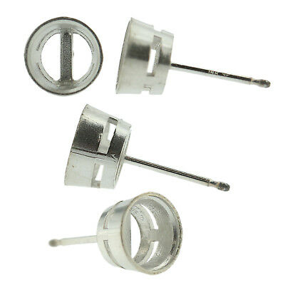 14k White Gold Round Bezel Stud Earring Mounting Setting Push Back Post