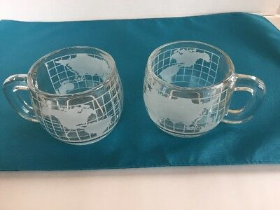 SET OF 2 NESCAFE TASTE YOUR WAY  COFFEE MUGS WITH WORLD MAP ON SIDES vintage
