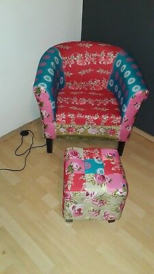 Bunter Sessel Mit Hocker Eur 20 00 Picclick De