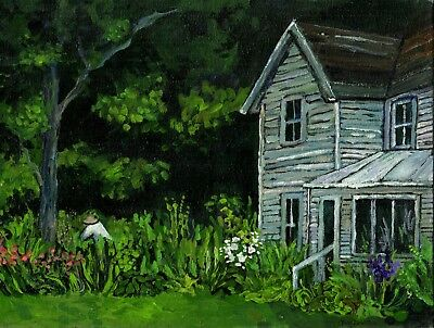 Nature Green Garden Old House Painting Handsigned Fine Art Paper GICLEE PRINT