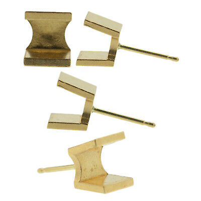 14k Yellow Gold Round Princess Stud Earring Mounting Setting Push Back Post