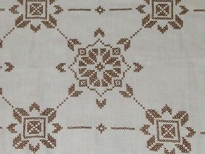 "Vintage German lovely Hand Embroidered ,hand woven linen Tablecloth 76""x34"""