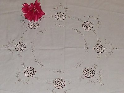 ON SALE Beautiful Vintage German Hand-Embroidered Tablecloth-32.8""