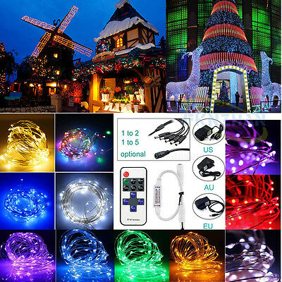 DC 12V 50-500 LED Silver/Copper Wire Fairy String Lights Wedding Christmas Lamp