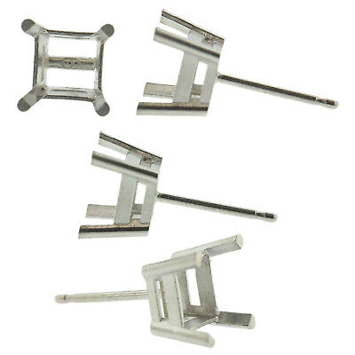 14k White Gold Princess Stud Earring Mounting Setting Push Back Post 4 Prong