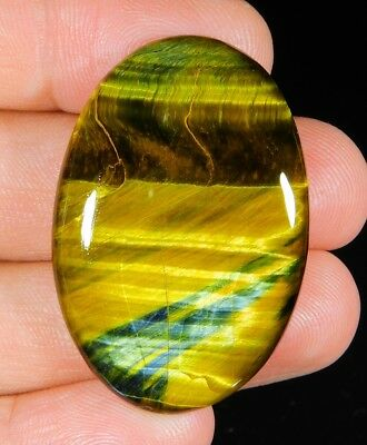 55 Ct Natural  Blue Pietersite Fire Tiger Eye Oval Cabochon Africa Gemstone A290