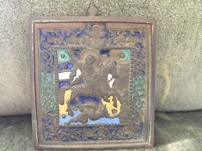 Antique 17th century Russian Enamel & Bronze Icon: St. George Slaying the Dragon