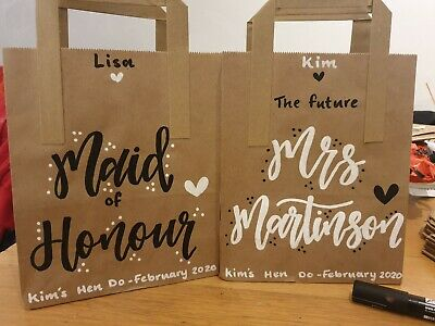 Personalised Hen Do Party Kraft/White Paper Bag Party Bag Gift Favor Wedding