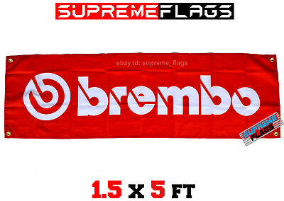 Brembo Flag Banner Brake Car Racing Fabric Nylon Red 1.5x5 ft (18x58 in)