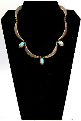 """Navajo Silver and Turquoise Choker Necklace 17"""""""