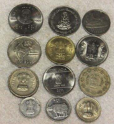 set of 12 different coins from India