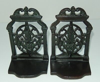 Vintage Patinated Solid Bronze Bookends