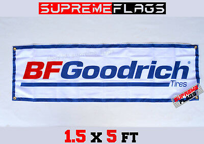 BFGoodrich Flag Banner Tires BF Tyres Car Racing Shop Garage White (18x58 in)