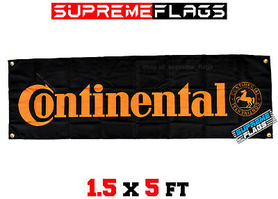 Continental Banner Flag Tires Tyres Racing Shop Garage Black (18x58 in)