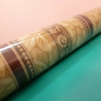 Vintage Wallpaper Imperial Vtg 1990s Tan Maroon Stripe Floral Traditional VC4063