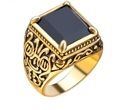 Men's Black Ring in Retro Classic Medieval Punk Gilded Ring Gold Plated 7-10 New