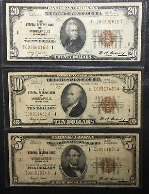 (3) 1929 FEDERAL RESERVE BANK NOTES $20, $10, & $5 - Minneapolis  INV# N-125