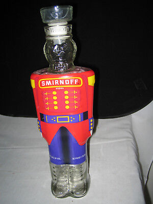 Smirnoff Vodka Toy Soldier NutCracker Empty Glass Bottle 12.5 H Excellent