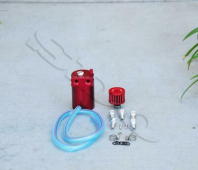 Red Cylinder Aluminum Engine Oil Catch Reservoir Breather Tank Can w/ Filter